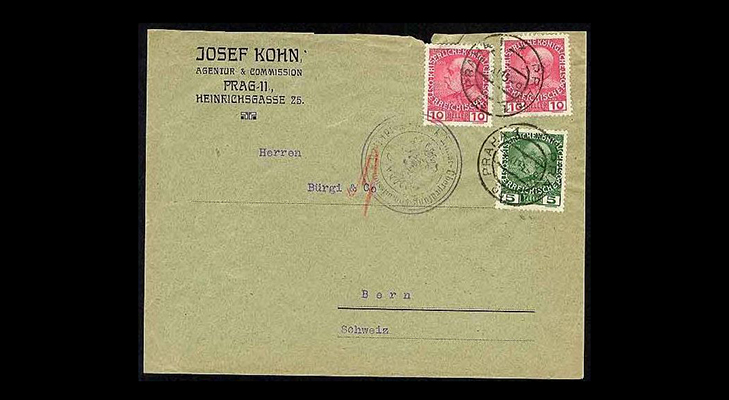 Чехословацкий конверт с австрийской маркой, 1918 год