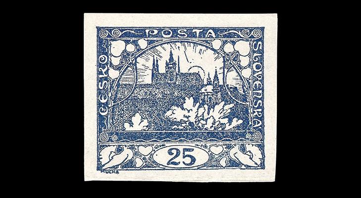 Градчаны - первый выпуск почтовых марок Чехословакии