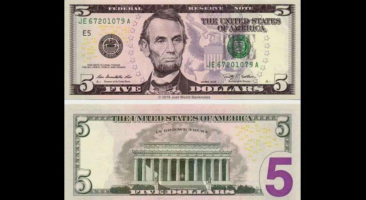 Банкнота 5 долларов
