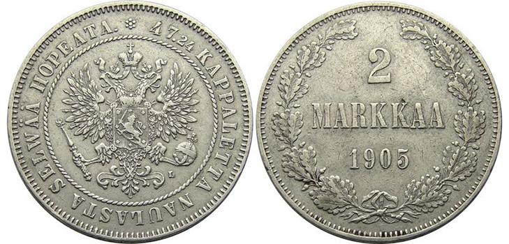 2 финские марки 1905 года