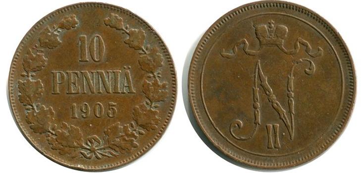 10 финских пенни 1905 года