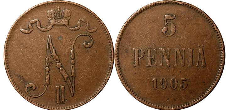 5 финских пенни 1905 года