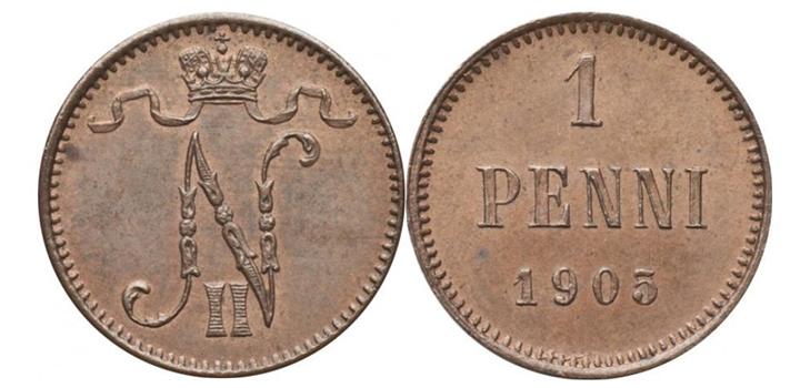 1 финский пенни 1905 года