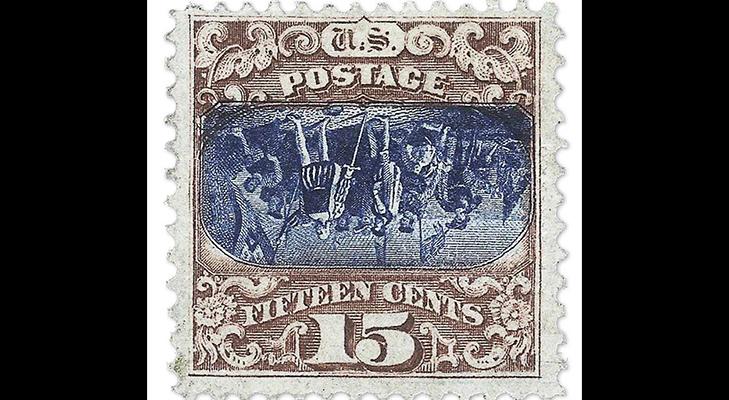 Почтовая марка США - перевертка, 1869 год