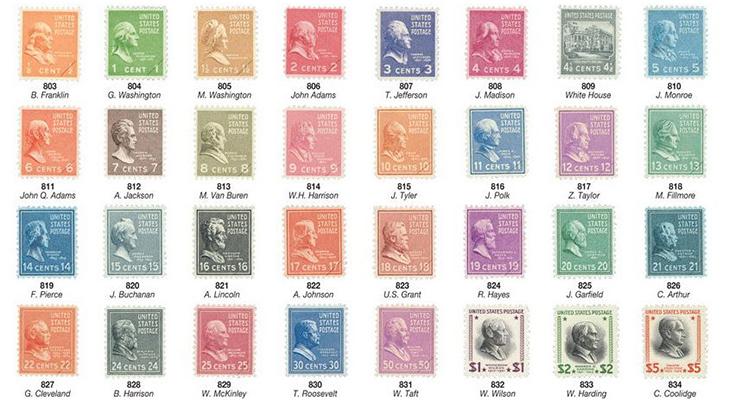 """Почтовые марки США """"Президенты"""", 1938 год"""