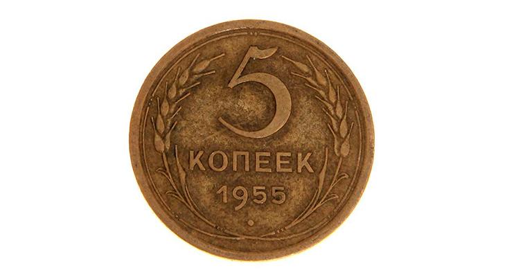 Монета 5 копеек 1955 года  - реверс