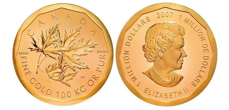 Монета«Золотой кленовый лист», Канада