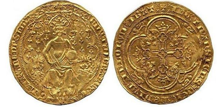 Монета «Двойной леопард» Эдуарда III, Англия
