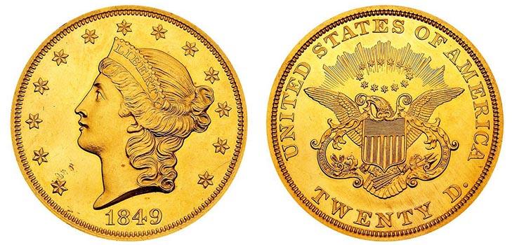 Монета «Двойной орёл» 1849 года
