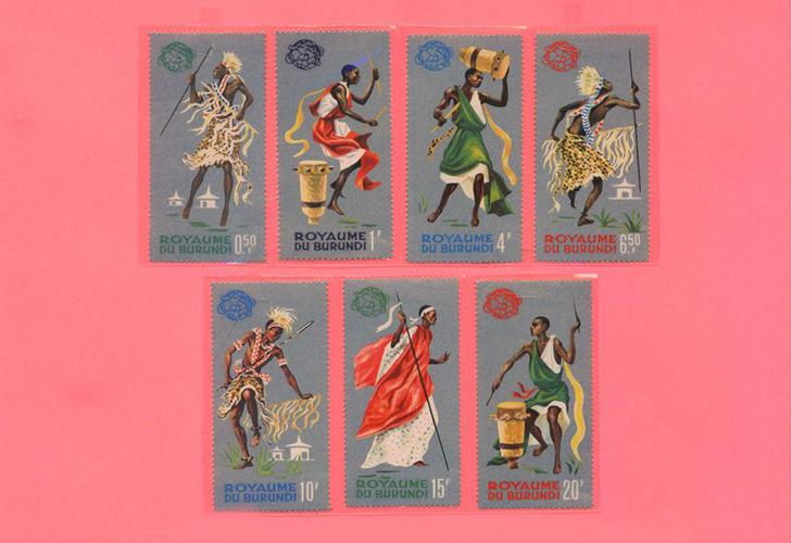 Почтовые марки Бурундии, серия «Костюмы и танцы»