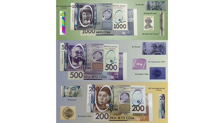 Защитные признаки банкнот Киргизии