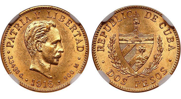 Золотая кубинская монета 1916 г