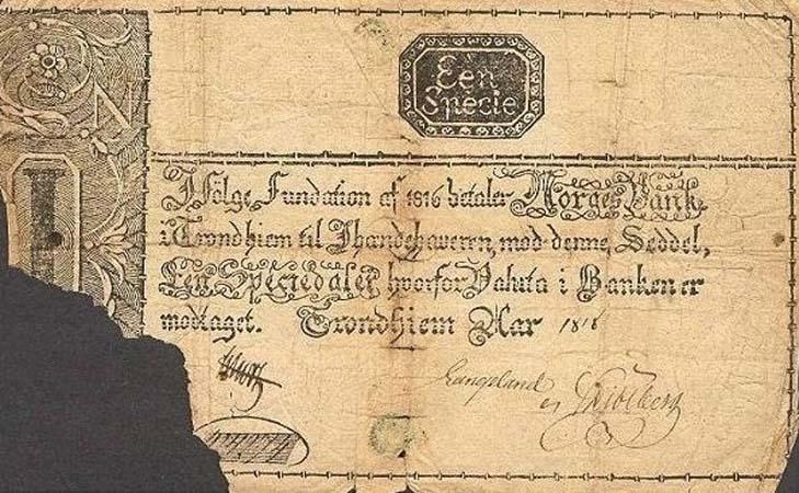 Первые норвежские банкноты