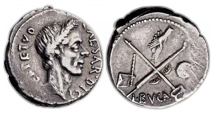 Монета с Юлием Цезарем