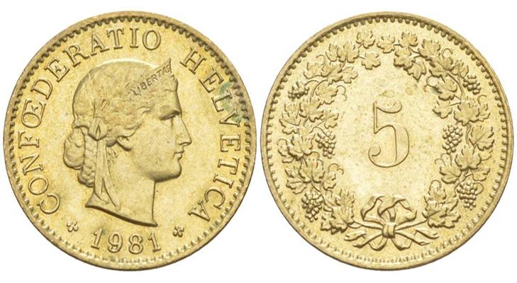 5 франков 1981 года